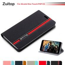 Funda de teléfono de cuero de poliuretano vaquero para Alcatel One Touch POP C5, funda con tapa para Alcatel One Touch POP C5, funda trasera de silicona blanda
