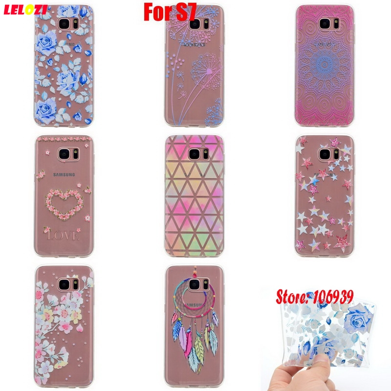 LELOZI Cute Vintage Soft Transparent TPU Clear Silicone Fundas Coque Case Cover Shell For Samsung Galaxy S7 SM-G930F Love Star
