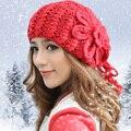 Мода женщин зима 100% ручной вязаная шапка цветочный шляпа