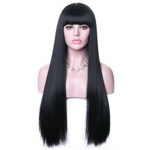 Rosa Star Длинные Синтетические парики с челкой для женщин черные термостойкие волокна косплей костюм парик 11 цветов