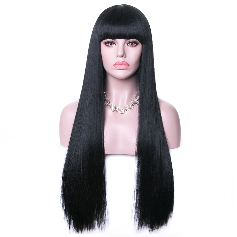 Rosa Star Long Synthetic Wigs With Bangs For Women Black Heat Resistant Fiber Cosplay Costume Wig 11 Color