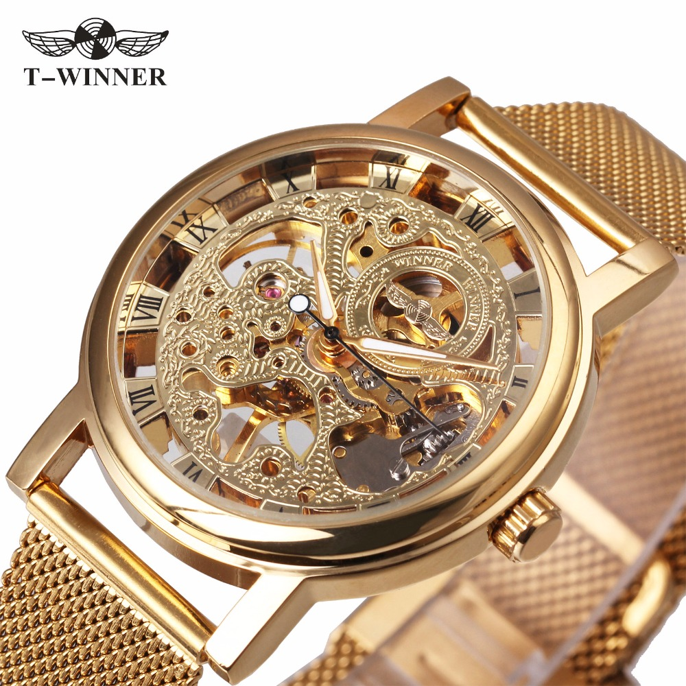 WINNER NEW Ultra Thin Luxury Golden Men Mechanical Watch Mesh Strap Skeleton Dial Middle Age Roman Design Style Best Gift winner men posh mechanical wrist watch leather strap tourbillion sub dial roman number crystal skeleton dial montre homme box