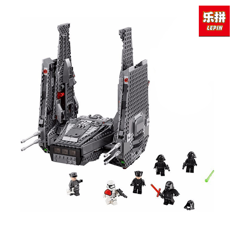 LEPIN 05006 Star Kylo Set Ren Toy Command Model Shuttle Educational Building Blocks Boy's War Toys Compatible legoing 75104 color metal 3d puzzle star wars millennium falcon for adult 2016 new batman flying wing kylo ren shuttle 3d nano jigsaw puzzles