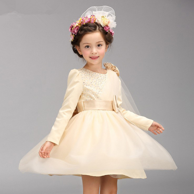 New Infant Kids Wedding Dresses For Girls Summer Long Sleeve Baby Girls Party Dresses Princess Dress for 4 to 8 Years Kids Cloth kids girls birthday dresses infant dress newborn girls baby cotton long sleeve clothing 0 4 years