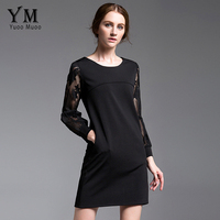 YuooMuoo New Plus Size Lace Patchwork Black Dress Women High Quality Autumn Dress With Pockets Elegant