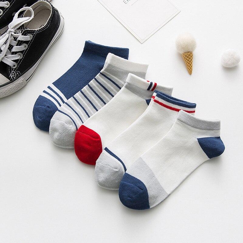 5 Pairs Kids Socks Boys Striped Sock for School Children Fashion Sports Elastic Socks Spring Autumn Summer Breathable Soft Sock 3