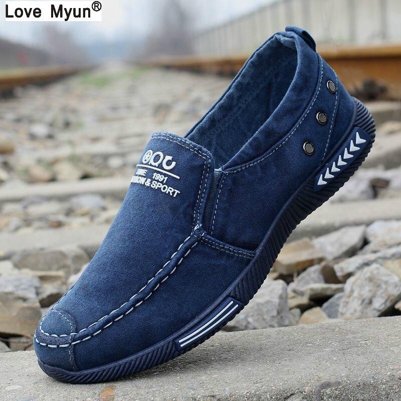Lona Zapatos Denim Encaje-up hombres Zapatos Nuevo 2017 zapatillas transpirable masculino calzado primavera otoño 887