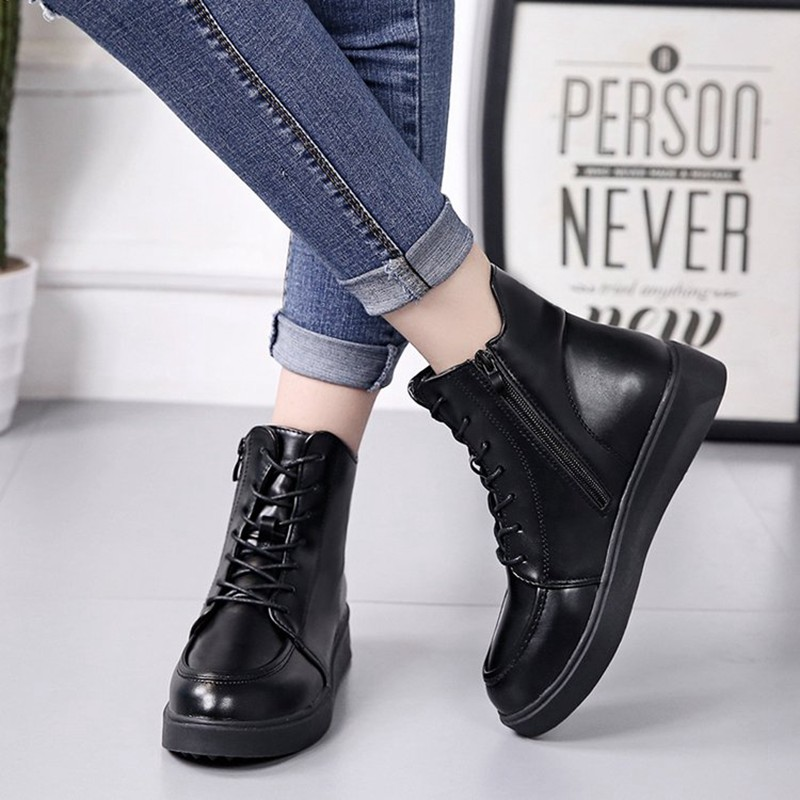 COOTELILI Plus Size Women Rubber Boots Women High Quality Black Flat Boots Fashion Winter Ankle Boots For Women 35-40 (11)
