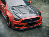 Carbon Fiber Clear Glass Front Bumper Engine Hood Vent Cover For Ford mustang 2015 2016 2017