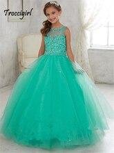 In stock scoop neck girl pageant dress mint kids beaded ball gown Flower Girl Dresses 2-14