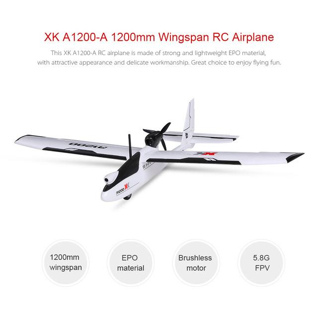 WLtoys XK A1200 3D 6G Brushless Motor Fixed-wing Airplane 5.8G FPV 2.4G 6CH S-FHSS EPO RC Airplane Glider RTF 89CM Length Drone 2