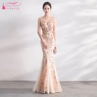Champagne Long Mermaid Evening Dresses vestidos Sequined V Neck Sleeveless Vintage Formal Lady Evening Gown In stock DQG349