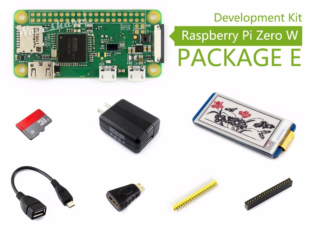 Parts Raspberry Pi Zero W Package E Basic Development Kit Micro SD Card, Power Adapter, 2.13inch e-Paper HAT, and Basic Componen raspberry pi zero w basic starter kit raspberry pi zero 16g sd card power adapter acrylic case hdmi cable