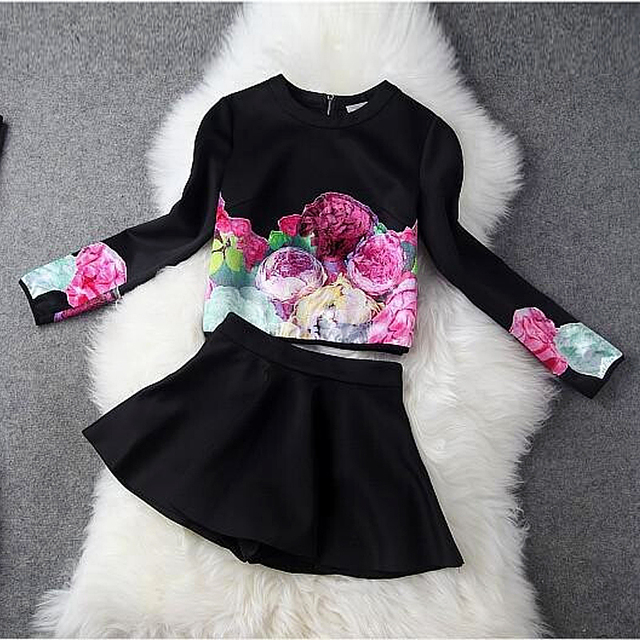 2016 Spring Autumn Designer Women 2 Piece Skirt Suits Plus Size Long Sleeve O Neck Print Blouse Top +Skirts Two Piece Set