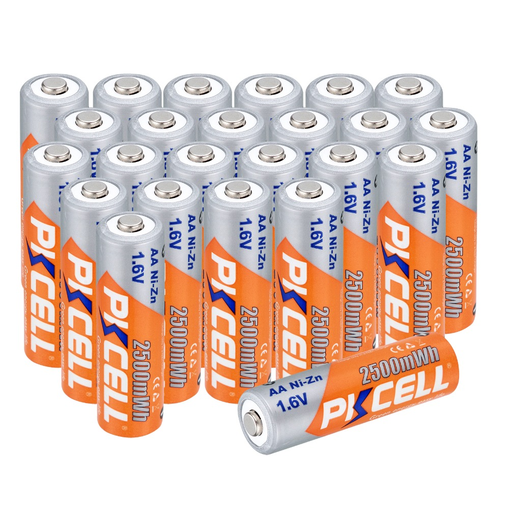 New arrival 24 pcs AA Batteries Ni Zn 2500MA 1 6V AA Rechargeable Battery 2A Electronic