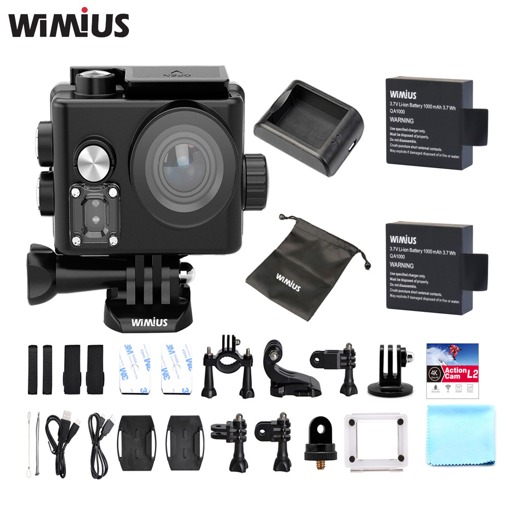 Wimius L2 Action Camera 4K Novatek Chip FPV USB TV Out Mini Sports Cam Full HD 1080P 60fp Go Waterproof Pro Wide Angle Car DVR wimius 20m wifi action camera 4k sport helmet cam full hd 1080p 60fps go waterproof 30m pro gyro stabilization av out fpv camera