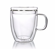 1 x 350ml Double Wall Heat Resistant Glass Tea Mug W/ Glass Lid Handle Handmade Clear Borosilicate Glass Cups