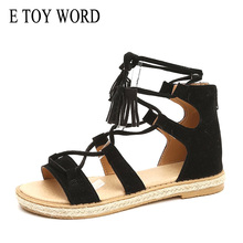 E TOY WORD Women Sandals Cross Lace-up Woman Summer Tassel Flat Female Casual Beach Shoes Ladies sandalias