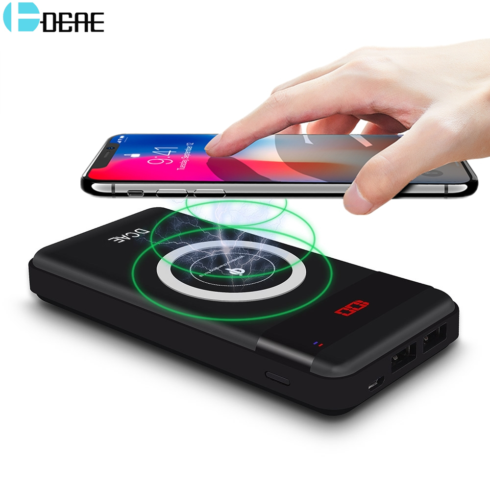 DCAE Power Bank 10000mAh Qi Wireless Charger Pad Dual USB External Battery PowerBank for iPhone X 8 Plus Samsung S9 S8 S7 Xiaomi