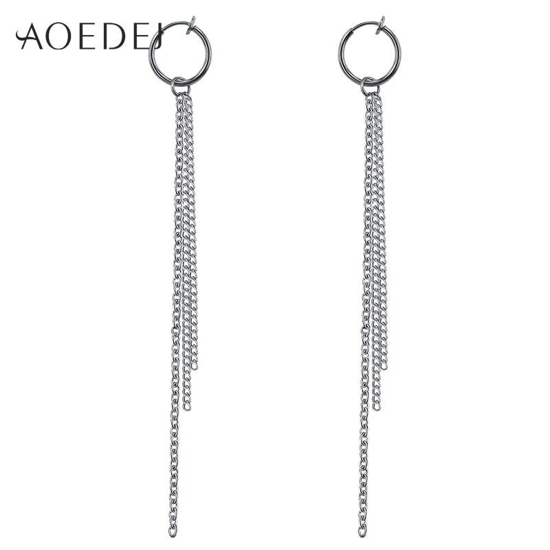 AOEDEJ Fashion Fake Piercing Long Tassel Earrings Men Women Free Shipping Korean Hoop Earring Jewelry Ear Cartilage Jewelry 2018 earrings