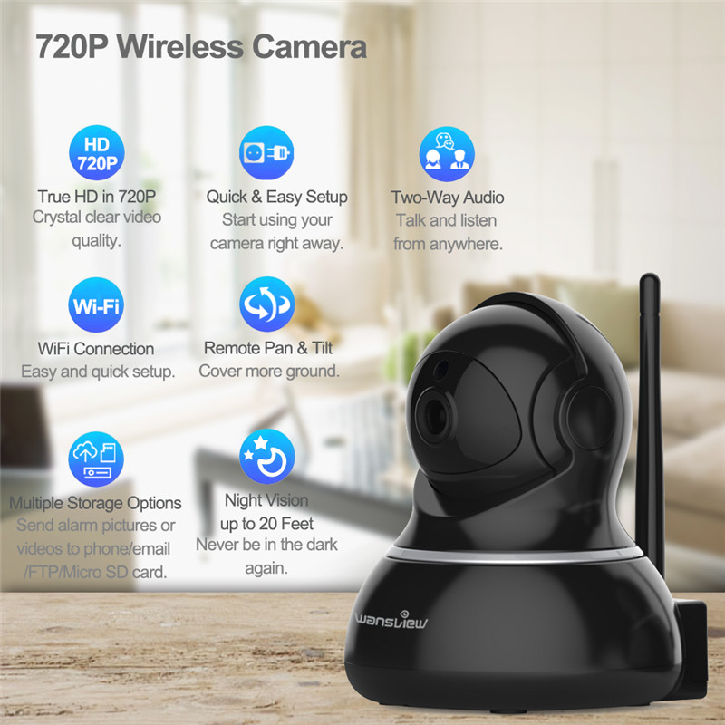US $33 49 50% OFF|Wansview Q3 Indoor Home Wireless CCTV Wifi Camera WiFi  Motion Detection Alarm Security Surveillance IP Camera IP PTZ Monitor-in