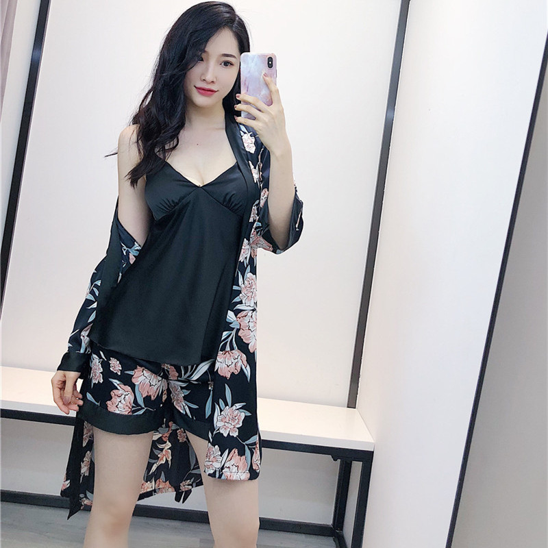 2019 New Print Floral Women 3PCS Sleepwear Casual Home Wear Sexy V-Neck Kimono Bath Gown Silky Satin Nightwear   Pajamas     Set