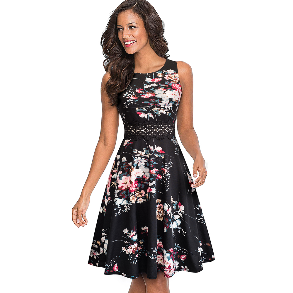 Nice-forever Vintage Elegant Embroidery Floral Lace Patchwork vestidos A-Line Pinup Business Women Party Flare Swing Dress A079 63