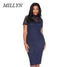 MILLYN New Europe Lady Sexy Business Lace Dress Bodycon Autumn fall Women sexy club 3XL 4XL 5XL 6XL