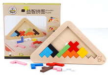 2016 New Kids Wooden Puzzle Jigsaw Logic Pyramid Brain Teasers Educational Puzzles Game Toys for Children Adults
