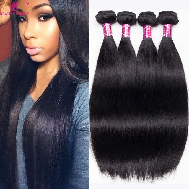 Brazilian Straight Hair Weave 4 Bundles Ali Beauty Grace Mink 8a Brazilian Virgin Hair Products Tissage Bresilienne Human Hair