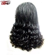 DLME Glueless Long Handmade Braiding Hair Micro Braid Wigs Heat Resistant Black Synthetic Braided Lace Front Wig For Women