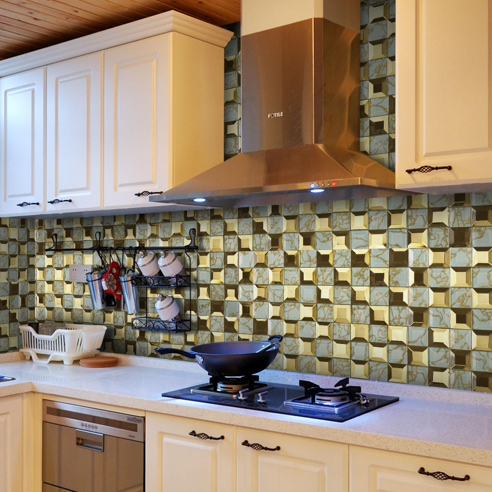 kitchen Stove Oilproof sticker Bathroom waterproof sticker Livingroom wallpaper Imitation mosaic PVC self adhesive stickers in Wall Stickers from Home Garden