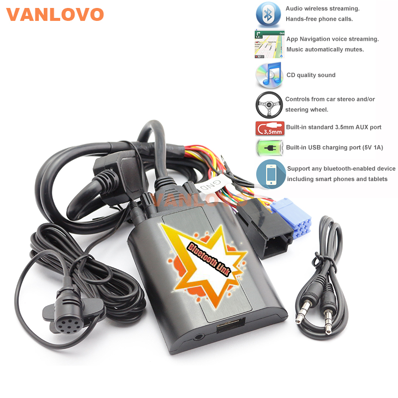 Bluetooth Link Car Kit W/ AUX-IN Interface & USB Charger for VW Radios Alpha 5 Beta 5 Gamma 5 Rhapsody New Beetle Gamma CD yatour for vw radio mfd navi alpha 5 beta 5 gamma 5 new beetle monsoon premium rns car digital cd music changer usb mp3 adapter