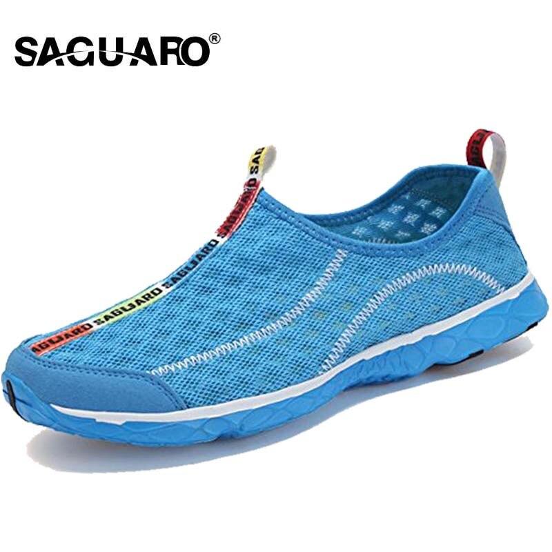 SAGUARO 2018 Men Casual Shoes Fashion Breathable Mesh Men Flats Shoes Man Slip On Lovers Shoes Lightweight Male Beach Shoes male lightweight breathable mesh slip on shoes