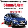 4 шт.  54 мм  5 4 см  хромированная Серебристая/черная Автомобильная Кепка с логотипом  крышка для центра колеса  крышка ступицы для Swift Alto SX4 Jimnty  ...