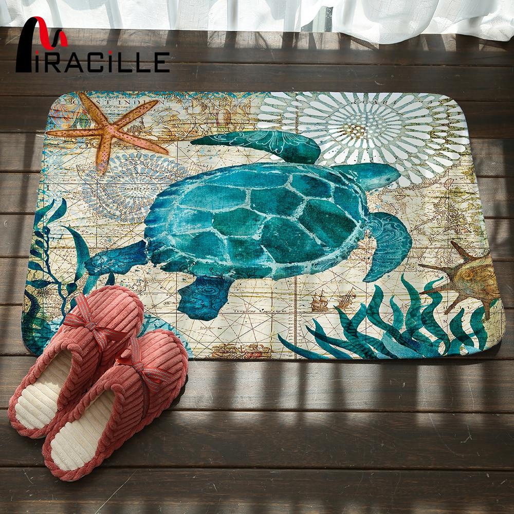 Miracille Marine Stil Tür Matte Boden Teppich für Wohnzimmer Sea Turtle Muster Coral Fleece Teppich Rutschfeste Fußmatte Wohnkultur