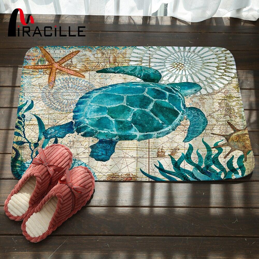Miracille Marine Stile Porta Tappetino Tappeto per Soggiorno Sea Turtle Modello di Corallo del panno morbido Tappeto Antiscivolo Zerbino Decorazioni per la Casa