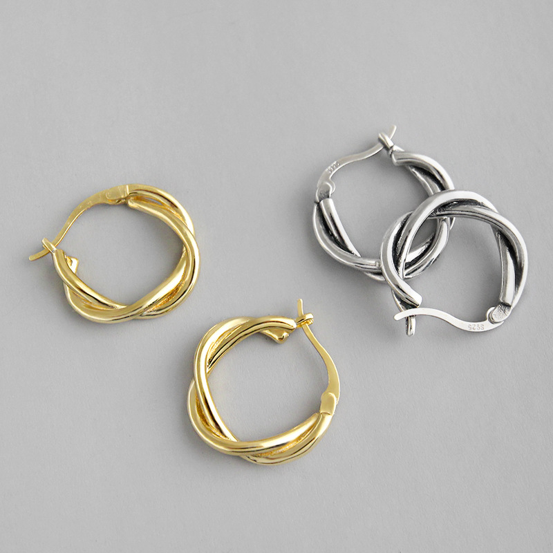 1pair Authentic 925 Sterling silver Double Rows Twisted Roped Hoop Huggie Earrings Leverback FINE jEWELRY E455