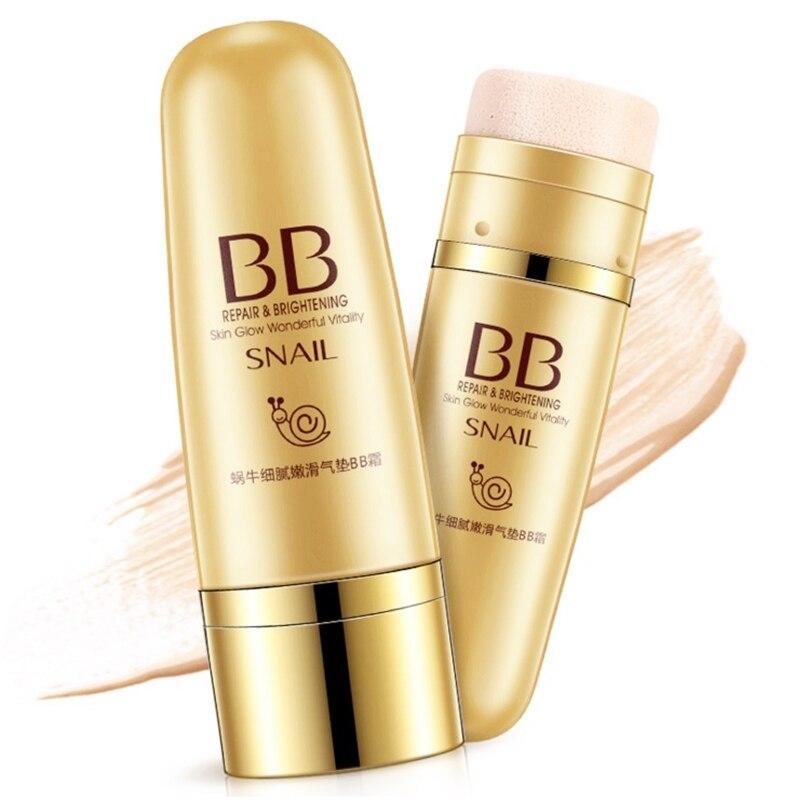 Snail Air Cushion BB Cream Delicate Tenderness Concealer Repair Moisturizing Skin Care Liquid Foundation,Easy Create Nude Makeup