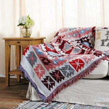 Jacquard Decorative Blanket for Sofa Cover Knitted Cotton Thread Blankets Carpet AB-Side Bedspread Home Decor Tapestry