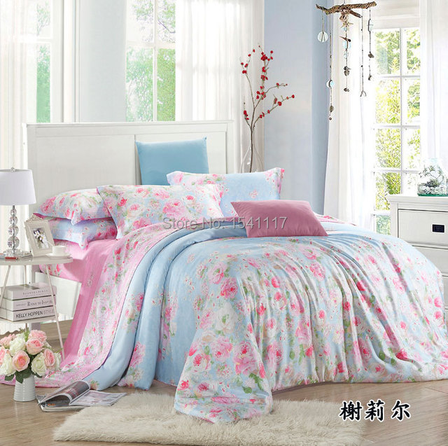 4piece King Queen Size Romantic Wedding Bed Sheets, Rose Garden Pattern  Duvet Cover Set, Pictures