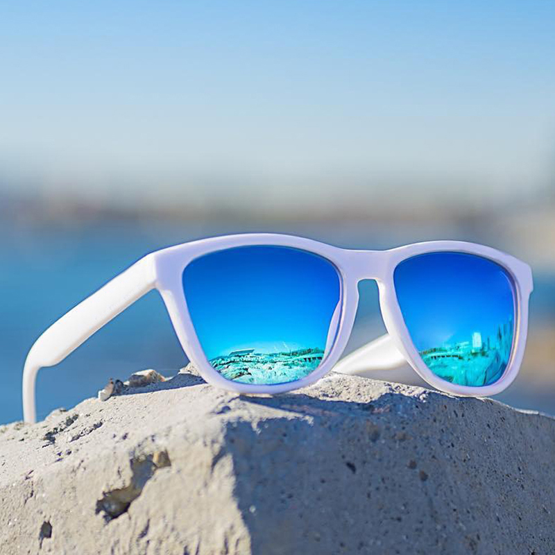 Dokly Unisex bingkai putih kanta biru Sunglasses Mirror Oculos Sun Glasses Gafas De Sol fesyen Sunglasses Lelaki dan Wanita kacamata hitam