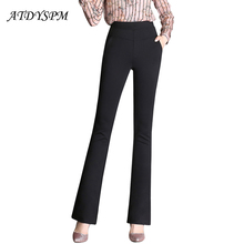 Plus Size 4XL Slim Flare Pants Women High Waist Long Trouser