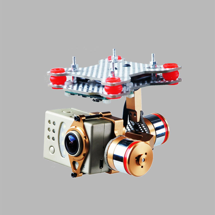 F07561 Brushless Motor Gimbal Camera Mount Full Set HMG188 Golden for Gopro 3 3+ SUPTIG Phantom FPV + aluminum gimbal camera mount ptz with brushless motor controller for gopro 2 3 3 fpv dji phantom drones spare parts color black