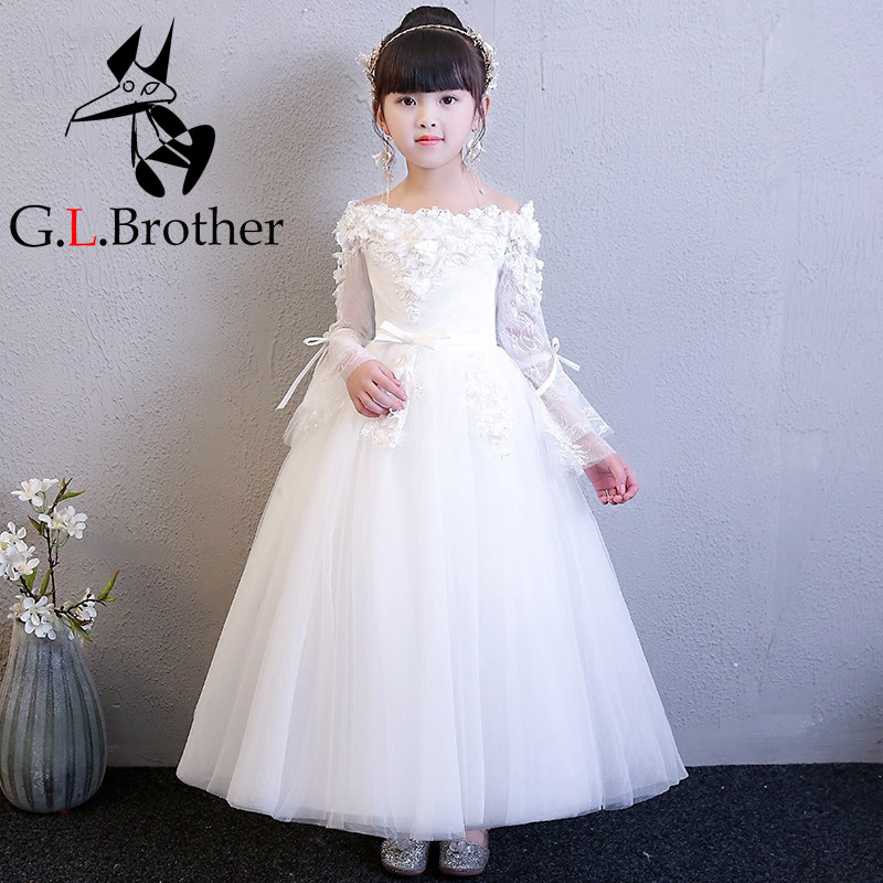 Shoulderless Lace Floral Princess Dress White First Holy Communion Dress Long Sleeve Ball Gown Flower Girl Dresses For Wedding first holy communion dress long trailing flower girl dresses wedding floral beading party gowns layered ball gown princess dress