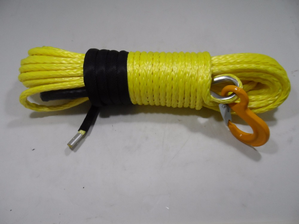 Free Shipping Yellow 10mm*30m Synthetic Winch Rope,ATV Winch Cable for 4wd Parts,ATV Winch Realy for Accessaries