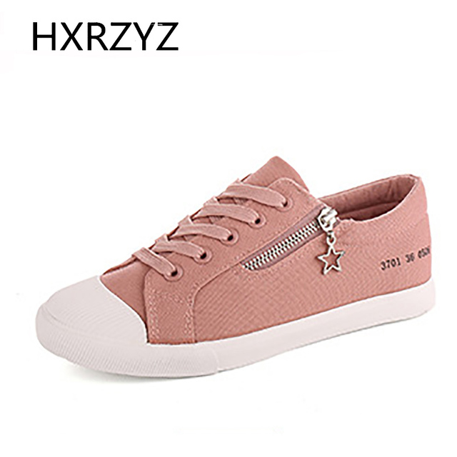 Brand HXRZYZ Spring/Autumn flat shoes for women fashion canvas shoes white red gray black flats ladies loafers zapatillas mujer