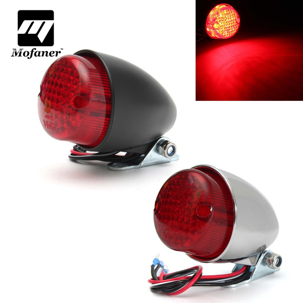 Universal 12V Motorcycle Tail Light LED Motorbike Rear Light For Harley Cruiser Chopper Chrome Black