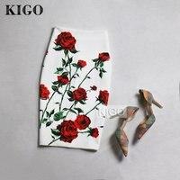 KIGO European And American Style Summer Print Midi Skirt High Waist Bodycon Skirt Sexy Ladies Slim
