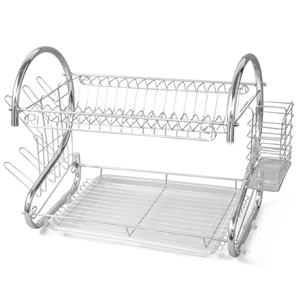 New 2 TIER CHROME PLATE DISH CUTLERY CUP DRAINER RACK DRIP TRAY PLATES HOLDER  sc 1 st  AliExpress.com & HOT!New 2 TIER CHROME PLATE DISH CUTLERY CUP DRAINER RACK DRIP TRAY ...